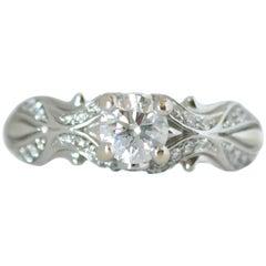 1950s 0.75 Carat Total Diamond and 14 Karat White Gold Engagement Ring
