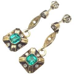 Emerald and Diamond Dangle Earrings