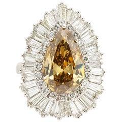 7 Carat Fancy Light Brown VS Baguette Diamond Ballerina Engagement Bridal Ring