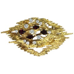1976 18 Karat Gold, White Diamond and Ruby Abstract Pendant Brooch