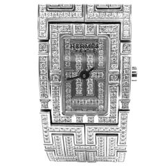 Hermes Kilim Full Diamond H White Gold Bracelet Ladies Wristwatch