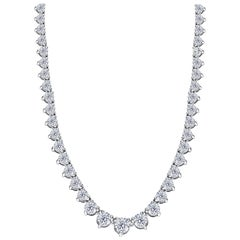 30.00 Carat Diamond Riviera Three Claws 18 Karat White Gold Tennis Line Necklace