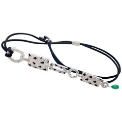 Cartier Panthere Panther Diamond Onyx Emerald White Gold Drop Pendant Necklace