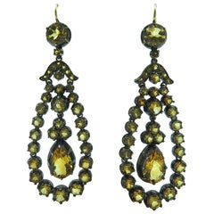 Pair of Silver Topped Gold and Citrine Earrings