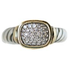 1990s David Yurman Diamond, 18 Karat Yellow Gold, Sterling Silver Cable Ring