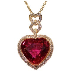Pendant of Fine Red Rubelite and White Diamonds