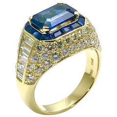 Picchiotti 2.48 Carat Emerald Cut Sapphire and Diamond Yellow Gold Ring