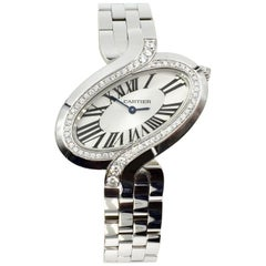Cartier Delices Large Watch 18 Karat White Gold WG800007