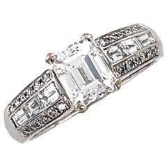 1.17 Carat Emerald Cut Diamond 18 Karat White Gold Engagement Ring D/SI1