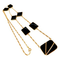 7 Station Jet Black Natural Carved Onyx Yard Link Necklace 14 Karat