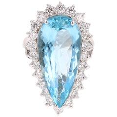 14.77 Carat Aquamarine Diamond White Gold Cocktail Ring