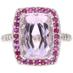11.10 Carat Kunzite Pink Sapphire Diamond White Gold Cocktail Ring