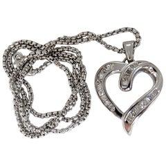 .50 Carat Open Heart Rounds and Baguettes Diamond Necklace 14 Karat