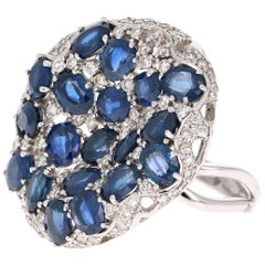 8.94 Carat Blue Sapphire Diamond Cocktail Ring 14 Karat White Gold