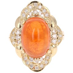 14.05 Carat Spessartine Garnet Diamond Yellow Gold Cocktail Ring