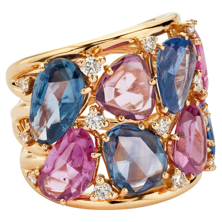 18 Karat Rose Gold Blue and Pink Sapphire Ring with Diamonds For Sale