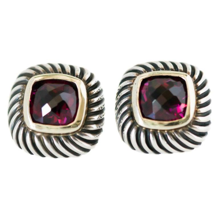 1990s David Yurman Garnet Cable Stud Earrings For Sale