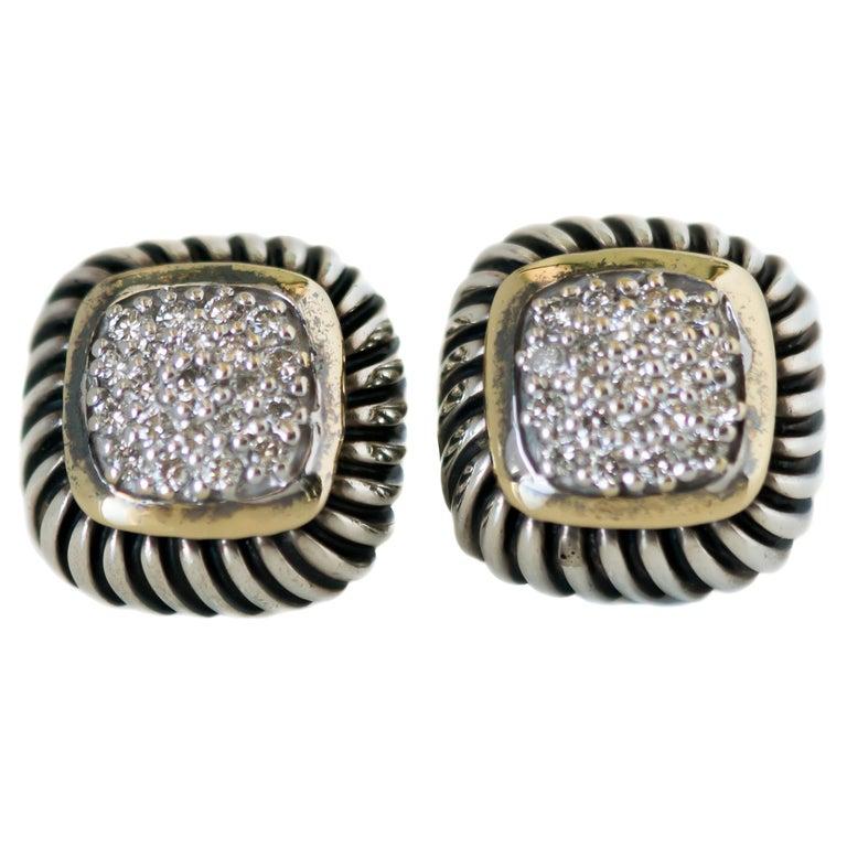 1990s David Yurman Diamond Cable Stud Earrings For Sale