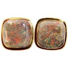 50 Carat Natural Opal Clip Earrings 14 Karat