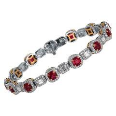 Ruby Diamond White and Rose Gold Halo Tennis Bracelet