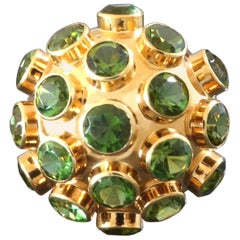 1960s Mid-Century Modernist Green Tourmaline Gold Sputnik Cocktail Ring