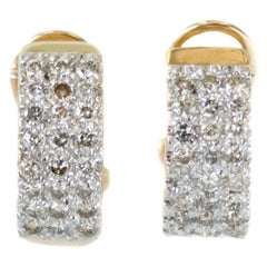 0.50 Carat Total Diamond and 14 Karat Gold Two-Tone Huggie Hoop Earrings