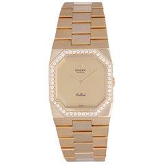 Rolex Yellow Gold Diamond Bezel Cellini Quartz Wristwatch Ref 4650