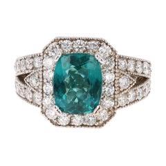 4.13 Carat Apatite Diamond White Gold Engagement Ring