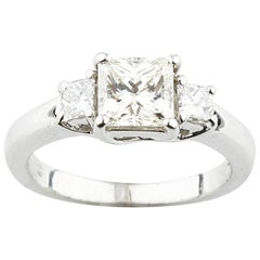 Jeff Cooper Platinum Princess Cut 3-Stone Diamond Engagement Ring
