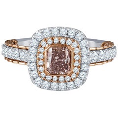Natural Fancy Brownish Purple-Pink Halo Cathedral Diamond Ring with GIA Report
