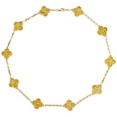 Van Cleef & Arpels Vintage Alhambra 10 Motif Gold Necklace