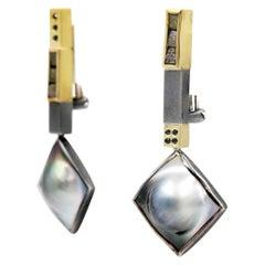 Janis Kerman, Tahitian Pearl Earrings, Black Diamonds, 18 Karat Gold
