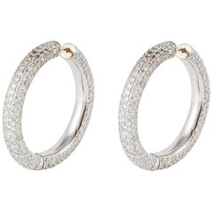 18 Karat White Gold Diamond Hoop Earrings