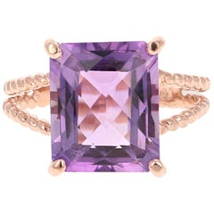 5.62 Carat Emerald Cut Amethyst Rose Gold Solitaire Ring