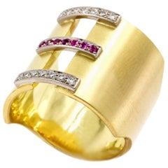 Janis Kerman, 18 Karat Gold Diamond and Pink Sapphire Ring