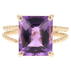 5.71 Carat Emerald Cut Amethyst Yellow Gold Solitaire Ring