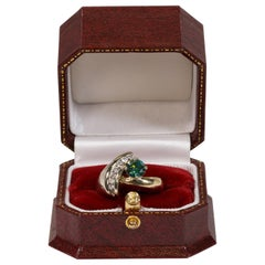 Green Diamond and Gold Ring