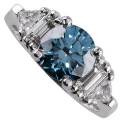 2.75 Carat Blue Enhanced Color Treated Solitaire Diamond White Gold Ring