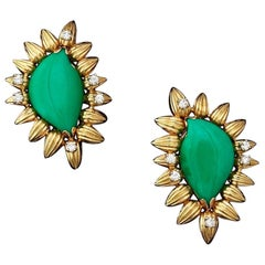 Stunning Estate Designer 18 Karat Gold Turquoise Cabochon Diamond Earrings