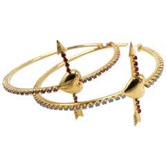 18K Gold Plated Hoop Statement Heart Arrow Earrings Rhinestone J DAUPHIN