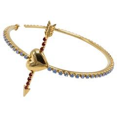 18K Gold Plated Hoop Statement Heart Arrow Earrings Rhinestone Blue J DAUPHIN