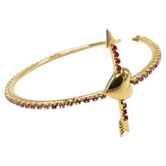 18 Karat Gold Plated Hoop Statement Heart Arrow Earrings Rhinestone Pink Red