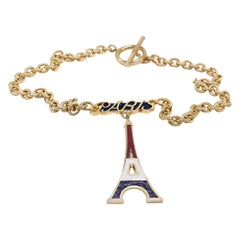 Paris Gold Plated Choker Necklace Eiffel Tower Red Blue White Enamel J DAUPHIN