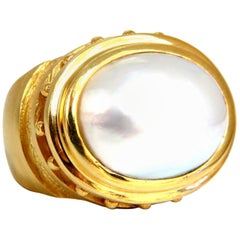 Authentic Aletto Bros. Mabe Pearl Ring 14 Karat