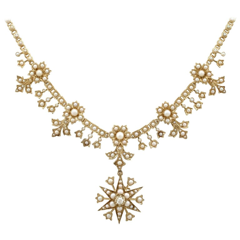 Antique Victorian Diamond and Seed Pearl Yellow Gold Necklace