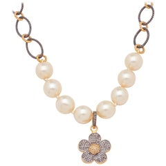 South Sea White Pearls with Diamond Vermeil Floral Pendant Charm