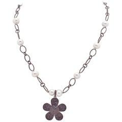 Black Diamond Flower Pendant Necklace w White Akoya Pearls & Blackened Silver