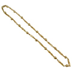 Vintage Yellow Gold Necklace with Fancy Links, circa 1970s