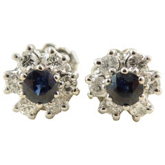 Vintage Sapphire and Diamond Earring Studs in 18 Carat White Gold, circa 1980s