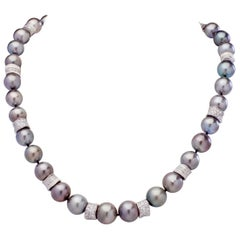 South Sea Tahitian Pearl Necklace 14K White Gold & Fine White Diamond Rondelles